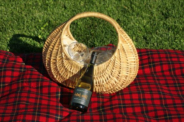 ein schönes korb auf einer roten picknick decke