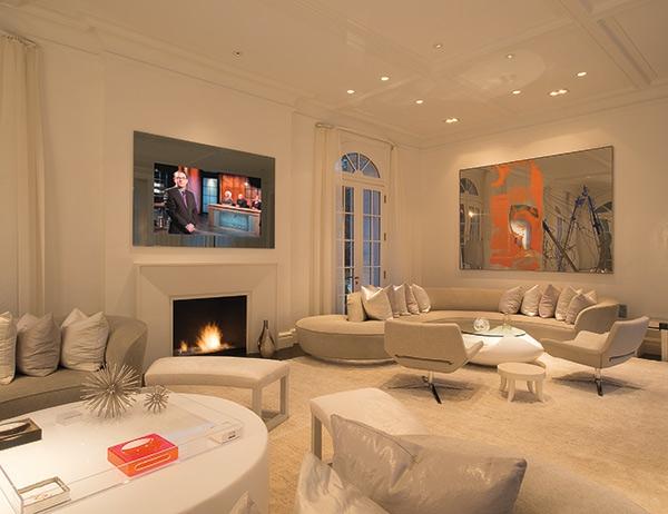 einmalige-beleuchtungsideen-für-wohnzimmer-super großes bild an der wand