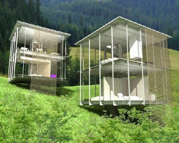 elegante-gestaltung-modernes-glashaus- zwei designs