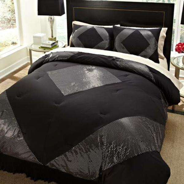 elegante-schwarze-bettwäsche-super-wirkend -mit silbernen elementen