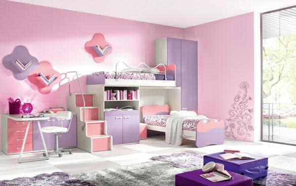 farbideen-kinderzimmer-rosafarbige-wandgestaltung-für-mädchen