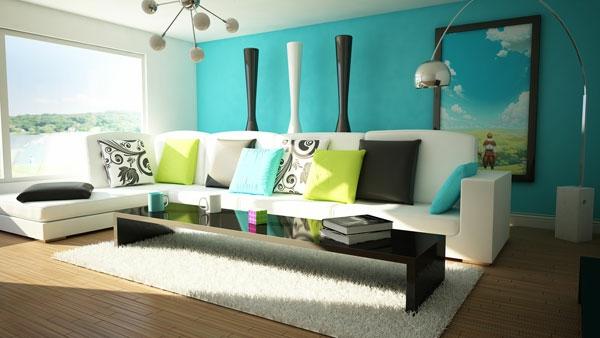 farbideen-wohnzimmer-azurblauw-wandfarbe-weißer-teppich