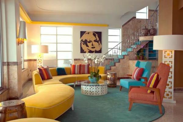 wohnzimmer blau gelb:Kreative Wohnzimmergestaltung-viele Farben in schönen Tönen