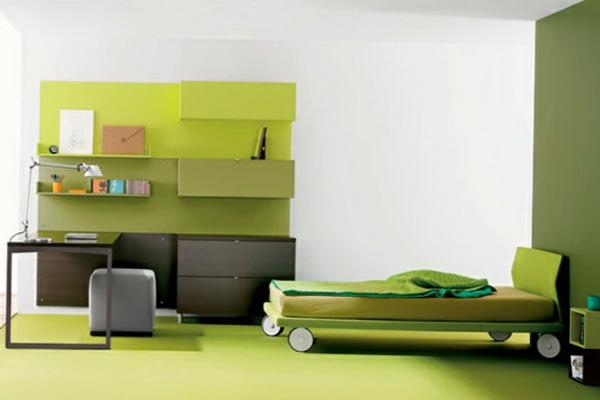 farbpalette-wandfarbe-wandfarbe-olivgrün- rollbett