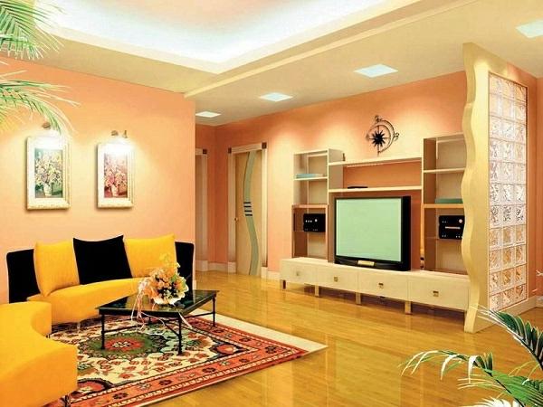 farbvorschläge-wohnzimmer-wandfarbe-apricot-warm