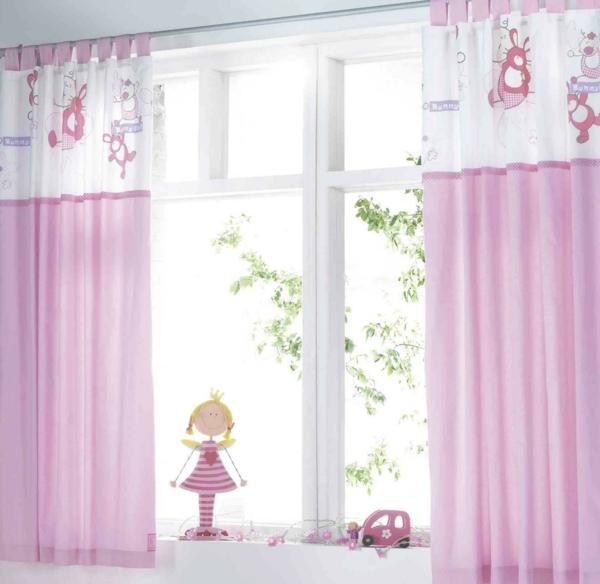 gardinen-dekorationsvorschläge-rosige-farbe-schönes kinderimmer gestalten