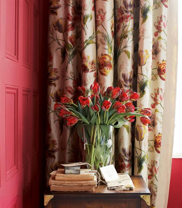 gardinenvorschläge-roteßwandgestaltung