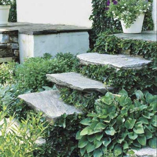 Edelstahl Gartenmobel Heinen : ein haus mit selber gebauten treppen aus stein und vielen grünen
