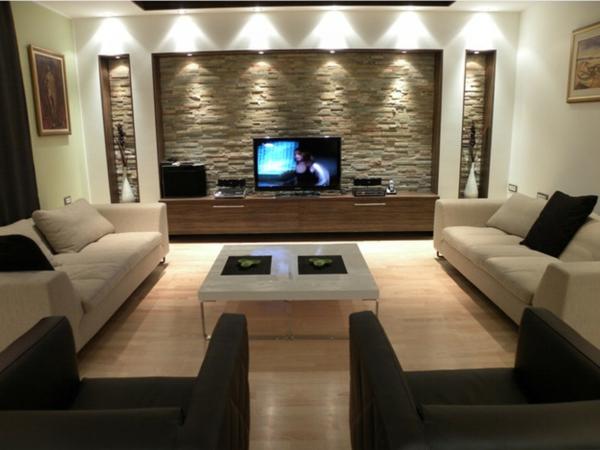 geniale-beleuchtungsideen-für-wohnzimmer-ziegelwand hinter dem fernseher