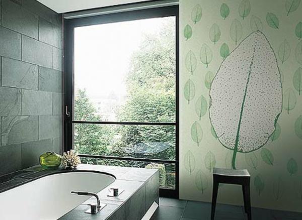 grüne-tapete-mit-einem-Blatt