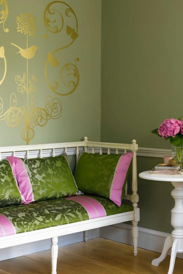grüne-wandfarbe-fürs-wohnzimmer-olive-schöne gestaltung