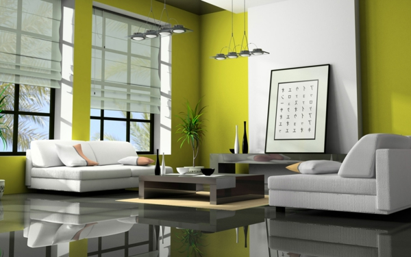 wohnzimmer olivgrün:grüntöne-wandfarbe-olivgrüne-wand-mit-weß-kombiniert-dunkler-boden
