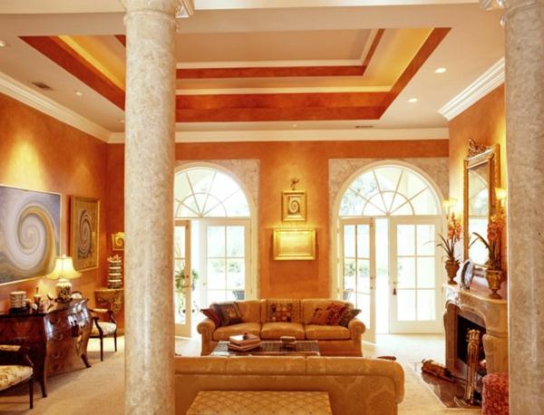 wunderschönes wohnzimmer mit einem aristokratischen look-zwei marmor säule