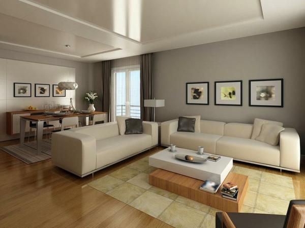 Wohnzimmer in hellen neutralen Farben geschmackvoll gestalten