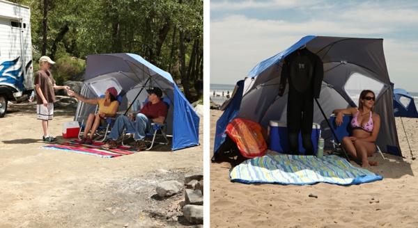 hochwertige-sonnenschirme-zwei-interessante-bilder- am strand und neben einer Karawanne