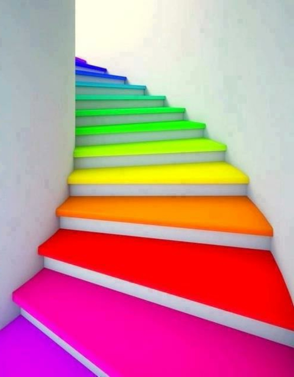 Holztreppe streichen - farbig und kreativ! - Archzine.net