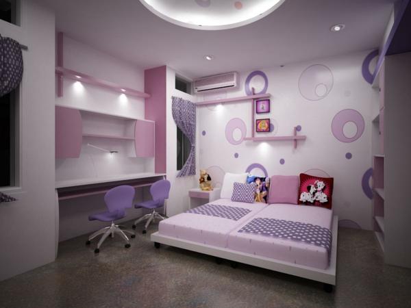 ideen-für-kinderzimmergestaltung-doppelbett-lila