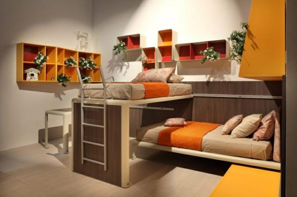 ideen-für-kinderzimmergestaltung-hochbett-Orange