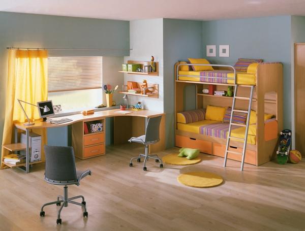 ideen-für-kinderzimmergestaltung-hochbett-gelb