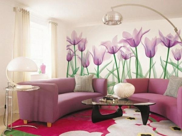 Wohnzimmer ideen wandgestaltung lila  Wohnzimmertapete - neue Vorschläge für jeden Geschmack! - Archzine.net
