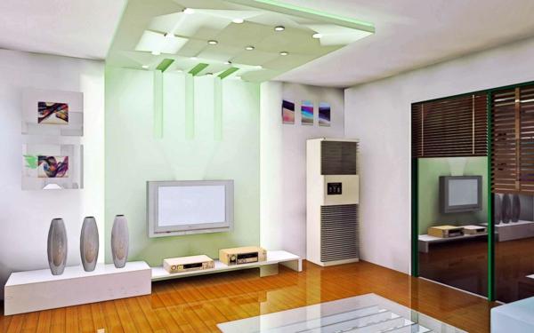 inspirierende-beleuchtungsideen-für-wohnzimmer-akzentwand in grün