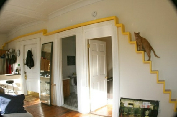 katzen-kletterwand-gelbes-treppenhaus