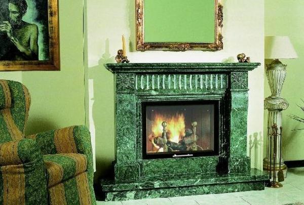 klassische-kamin-verkleidungen-stein-grüner-marmor- wunderschöner kamin