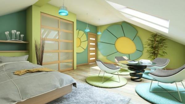 ganzßkreative-bunte-mansarda-schlafzimmer