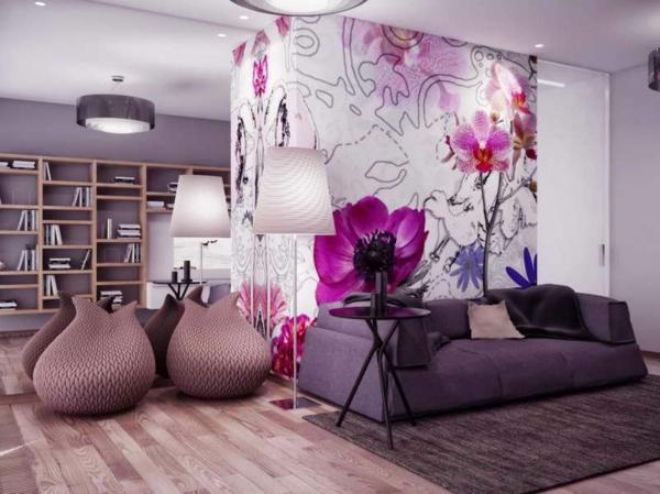 design wandgestaltung wohnzimmer grau lila wandgestaltung schlafzimmer farbe einrichten mit farben graue - Wohnzimmer Grau Lila