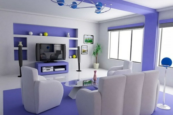 lila-weiß-wohnzimmerwände-ideen, Moderne deko