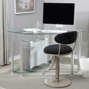 Der Computertisch aus Glas wirkt sehr schick und elegant!