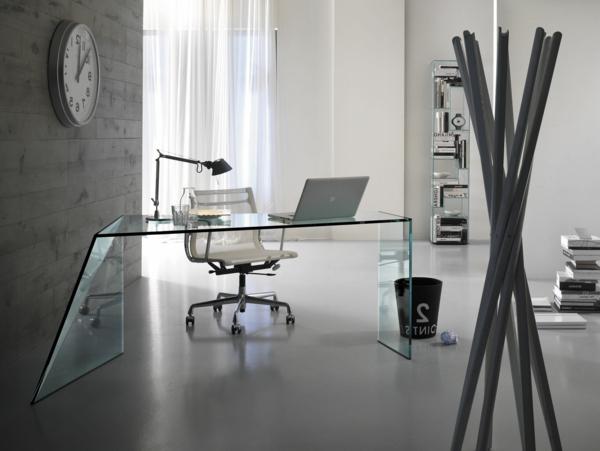 wunderschöne ideen für büro-einrichtung- ein extravagantes modell vom computertisch aus glas