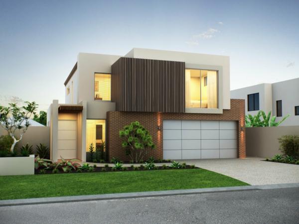 moderne-fassade-für-häuser-auf-zwei-stöcken- schöner hof