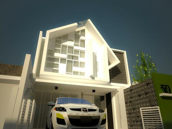 moderne-fassade-für-häuser-foto-von-unten-genommen- ein schönes auto in weiß