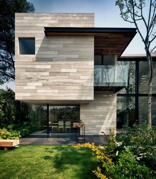 moderne-fassade-für-häuser-interessante-gestaltung- grüner hof