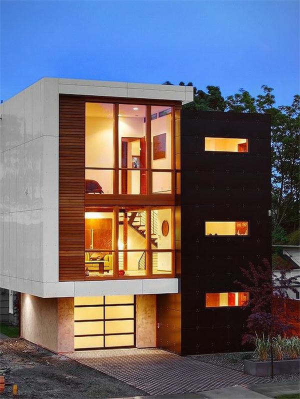 moderne-fassade-für-häuser-minimalistische-gestaltung- auf drei etagen
