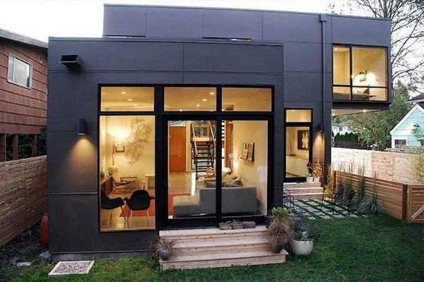 moderne-fassade-für-häuser-mit-gläsernen-wänden- originelle gestaltung
