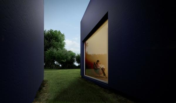 moderne-fassade-für-häuser-schwarze-farbe-und-ein-großes-fenster- kreative gestaltung