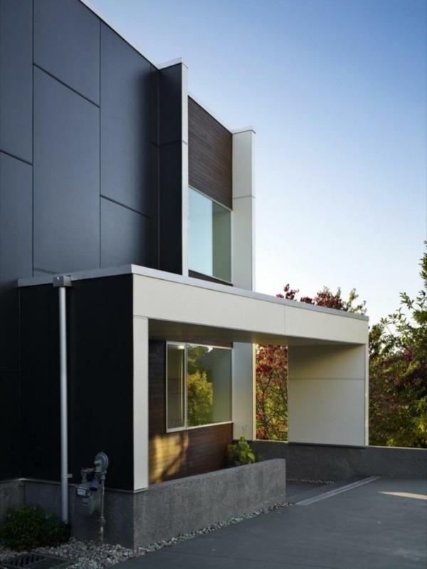 moderne-fassade-für-häuser-schwarze-gestaltung- mit weißen elementen