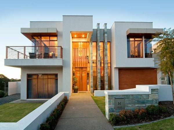 moderne-fassade-für-häuser-weiß-und-schön- kreative gestaltung
