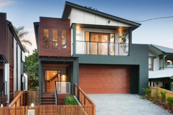 moderne-fassade-für-häuser-zwei-etagen- exotischer look