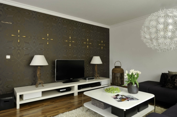 moderne tapeten wohnzimmer. Black Bedroom Furniture Sets. Home Design Ideas