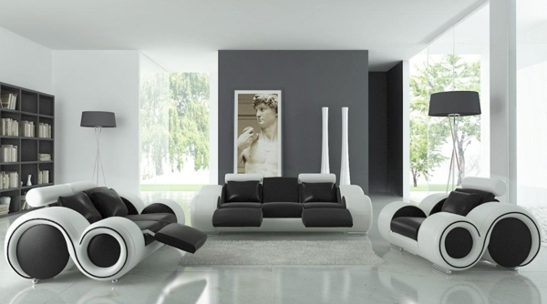 wohnzimmer boden grau:moderne-wohnzimmer-wandfarbe-kombination-aus-dunkelgrau-schwarz-und