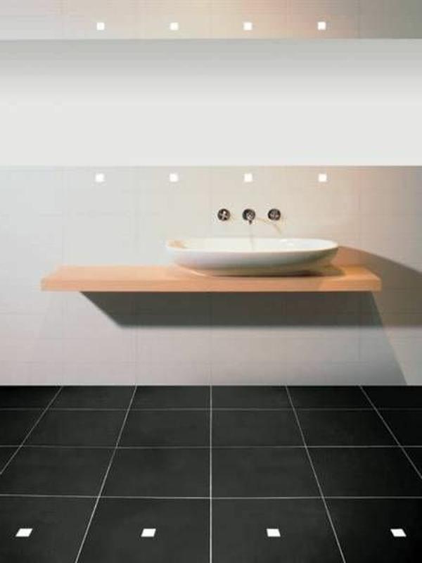 Modernes Bad Led Fliesenbeleuchtung Elegantes Weißes Waschbecken Und Boden  In Schwarz Led Fliesenbeleuchtung Sorgt Für Ein