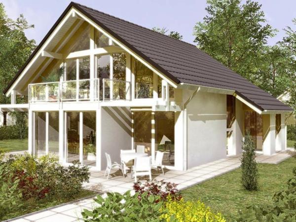 modernes-glashaus-auf-zwei-etagen und mit weißer fassade