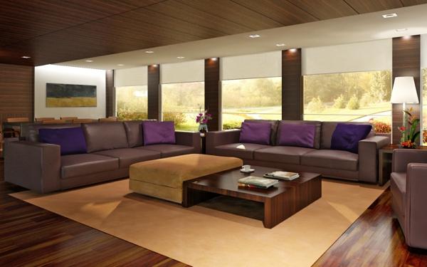 modernes-zimmer-sofakissen-in-lila-auf-dem-luxuriösen-sofa- deckenleuchten
