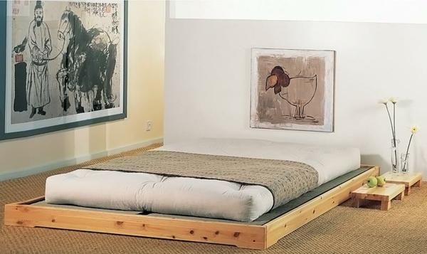 nordische-möbel-skandinavisches-bett-design-zwei interessante gemälde an der wand