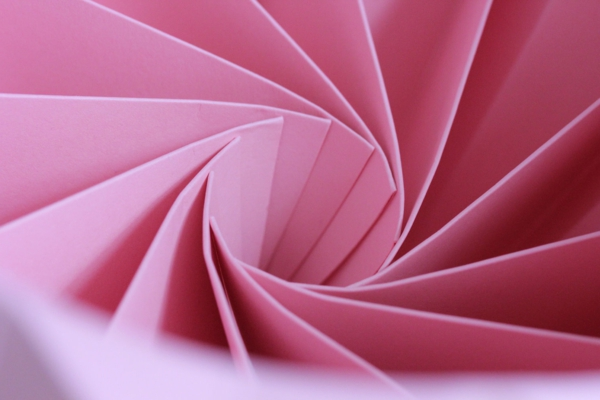 origami-lampenschirm-rosa-blatter-im prozess