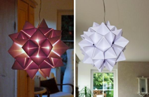 origami-lampenschirmweiss-und-rot-zwei-hängen-in-der-wohnung