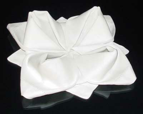papierservietten-falten-weiße-farbe-hintergrund in schwarz